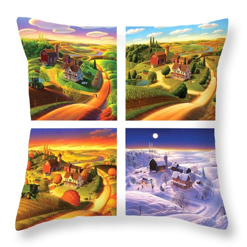 Four Seasons Throw Pillow featuring the painting Four Seasons On The Farm Squared by Robin Moline