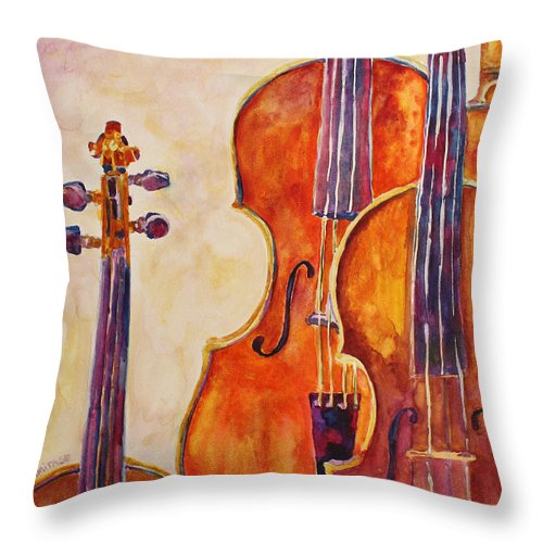 Violins Throw Pillow featuring the painting Four Violins by Jenny Armitage