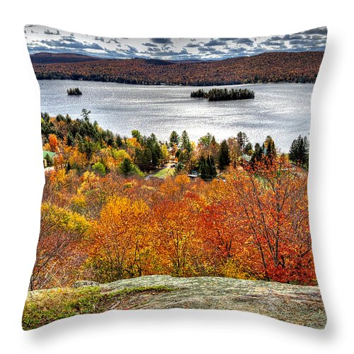 Adirondack's Throw Pillow featuring the photograph Fourth Lake From Above by David Patterson