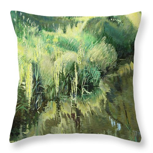 Original Throw Pillow featuring the painting Fourth Puzzle Of Biotop by Robert Keseru