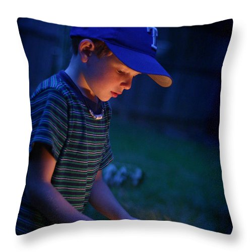 Kelly Hazel Throw Pillow featuring the photograph Fourth With A Sparkler by Kelly Hazel
