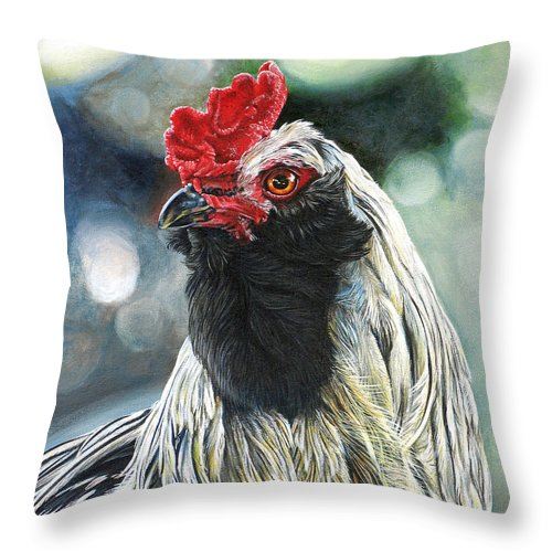 Fowl Throw Pillow featuring the painting Fowl Martyr by Cara Bevan