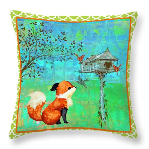 Water Color Throw Pillow featuring the painting Fox-a by Jean Plout