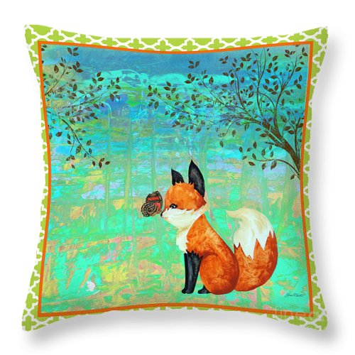 Water Color Throw Pillow featuring the painting Fox-d by Jean Plout