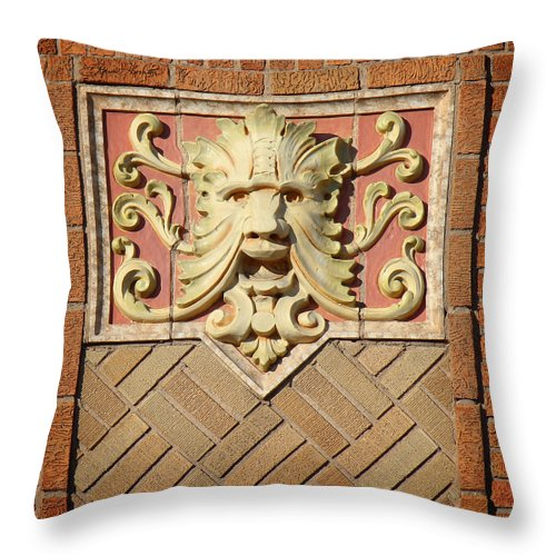 Fox Theater Throw Pillow featuring the photograph Fox Gargoyle 01 by Sylvia Thornton