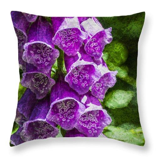 Foxglove Throw Pillow featuring the photograph Foxgloves Textured by Steve Purnell
