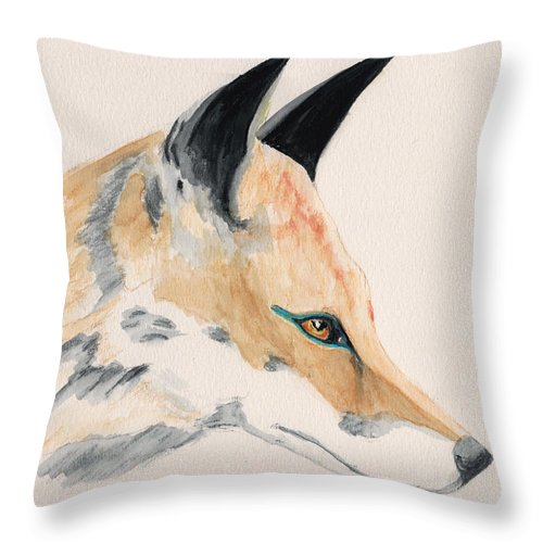 Animal Throw Pillow featuring the painting Foxy Lady by Stephanie Grant