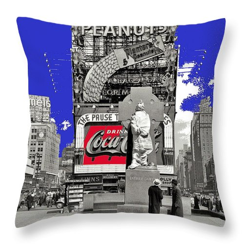 Fr. Duffy Statue Prior To Unveiling Coca Cola Sign Times Square New York City 1937 Throw Pillow featuring the photograph Fr. Duffy Statue Prior To Unveiling Coca Cola Sign Times Square New York City 1937-2014 by David Lee Guss