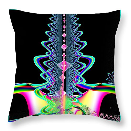 Jewels Throw Pillow featuring the digital art Fractal 21 Jeweled Plume by Rose Santuci-Sofranko