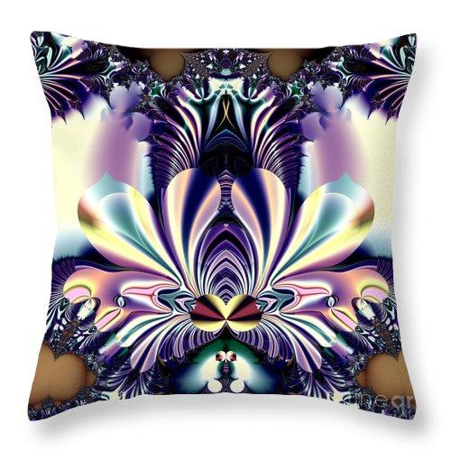 Lotus Throw Pillow featuring the digital art Fractal 26 Jeweled Tone Lotus Flower by Rose Santuci-Sofranko