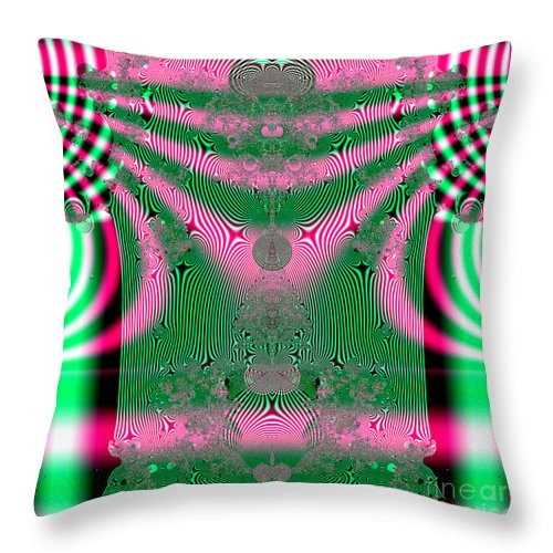 Kimonos Throw Pillow featuring the digital art Fractal 34 Kimono In Pink And Green by Rose Santuci-Sofranko