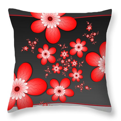 Fractal Throw Pillow featuring the digital art Fractal Cheerful Red Flowers by Gabiw Art