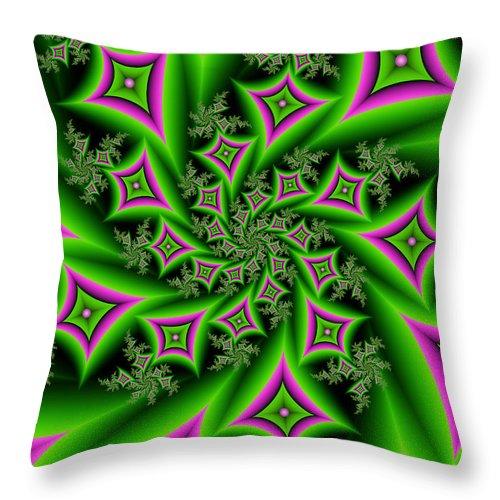 Digital Art Throw Pillow featuring the digital art Fractal Dancing Shapes by Gabiw Art