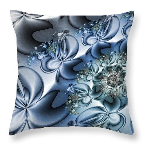 Digital Art Throw Pillow featuring the digital art Fractal Dancing The Blues by Gabiw Art