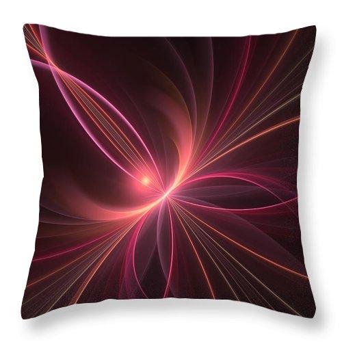 Fractal Throw Pillow featuring the digital art Fractal Dancing With The Light by Gabiw Art