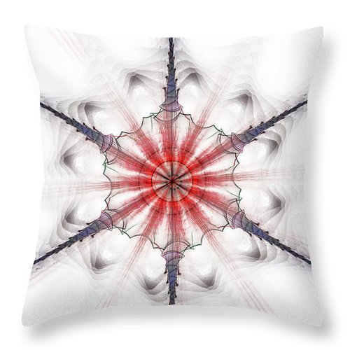Fractal Throw Pillow featuring the digital art Fractal Flake by GJ Blackman