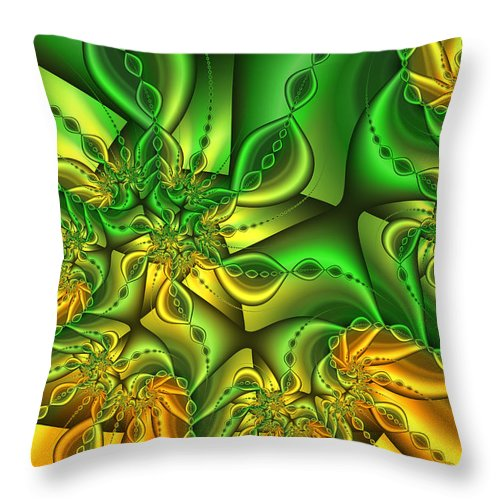Digital Art Throw Pillow featuring the digital art Fractal Gold And Green Together by Gabiw Art
