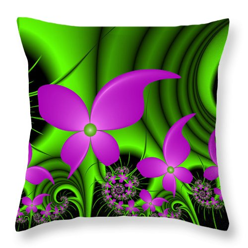Digital Art Throw Pillow featuring the digital art Fractal Neon Fantasy by Gabiw Art