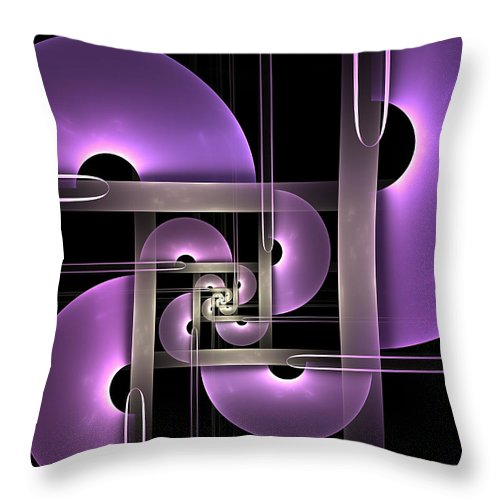 Digital Art Throw Pillow featuring the digital art Fractal Purple Semicircles by Gabiw Art