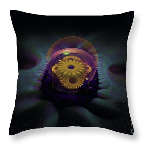 Throw Pillow featuring the digital art Fractal Snow Globe by Melissa Messick