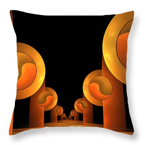 Digital Art Throw Pillow featuring the digital art Fractal The Hall by Gabiw Art