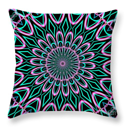Throw Pillow featuring the digital art Fractalscope 21 by Rose Santuci-Sofranko