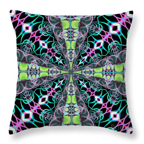 Fractals Throw Pillow featuring the digital art Fractalscope 24 by Rose Santuci-Sofranko