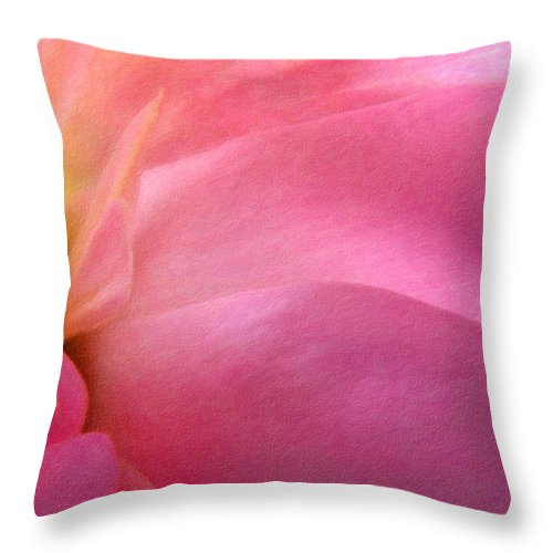Flower Throw Pillow featuring the photograph Fragment - Digital Painting Effect by Rhonda Barrett