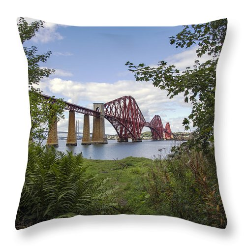 Berthed Throw Pillow featuring the photograph Framing The Forth Bridge by Ross G Strachan