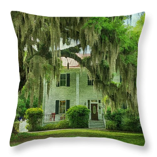 Live Oaks Throw Pillow featuring the photograph Frampton Plantation House by Priscilla Burgers