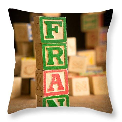 Abs Throw Pillow featuring the photograph Fran - Alphabet Blocks by Edward Fielding