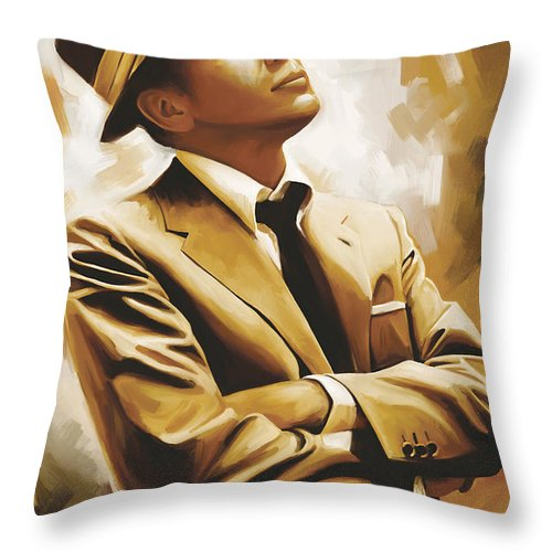 Frank Sinatra Paintings Throw Pillow featuring the painting Frank Sinatra Artwork 1 by Sheraz A