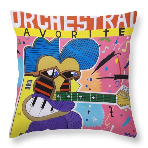 Frank Zappa Album Art Throw Pillow featuring the painting Frank Zappa Orchestral Favorites by Don Parker