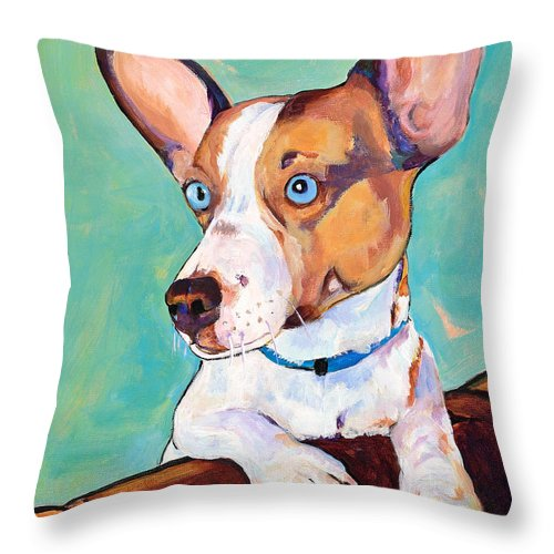 Pat Saunders-white Throw Pillow featuring the painting Frankie by Pat Saunders-White