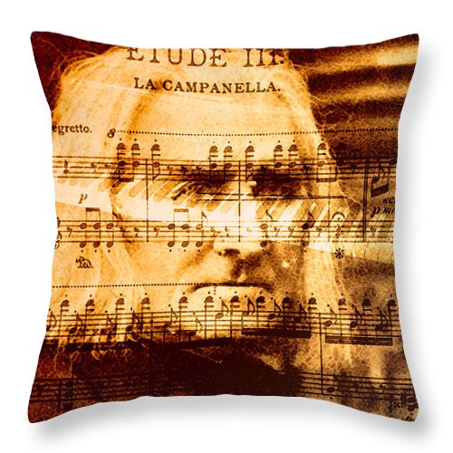 Classical Music Throw Pillow featuring the digital art Franz Liszt by John Vincent Palozzi