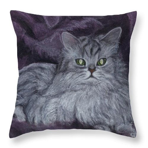 Portrait Throw Pillow featuring the drawing In Memory Of Frasier by Carol Wisniewski