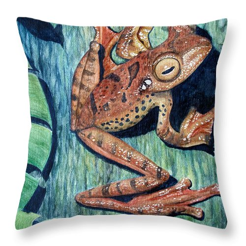 Tree Frog Throw Pillow featuring the painting Freckles Tree Frog by Joey Nash