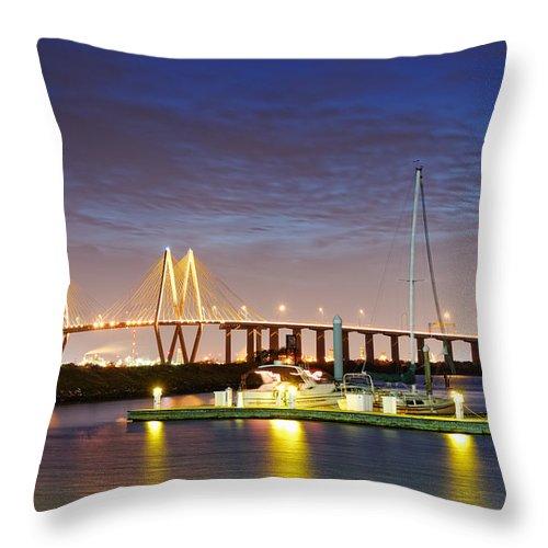 Fred Hartman Bridge Throw Pillow featuring the photograph Fred Hartman Bridge From Bayland Marina - Houston Texas by Silvio Ligutti