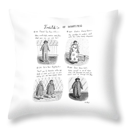 Frederick's Of Winnipeg: Title. 4-panel Drawing Shows Such Items As Flannel Pajamas Throw Pillow featuring the drawing Frederick's Of Winnipeg by Roz Chast