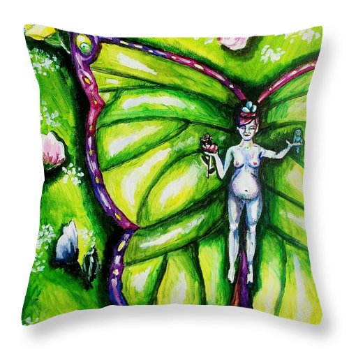 Spring Throw Pillow featuring the painting Free As Spring Flowers by Shana Rowe Jackson