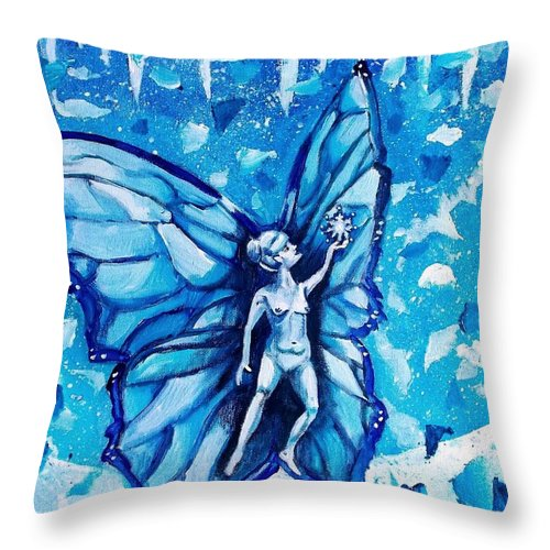 Winter Throw Pillow featuring the painting Free As Winter Snow by Shana Rowe Jackson