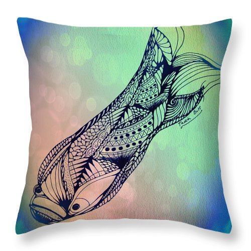 Fish Throw Pillow featuring the drawing Free In The Rivers by Taskin B