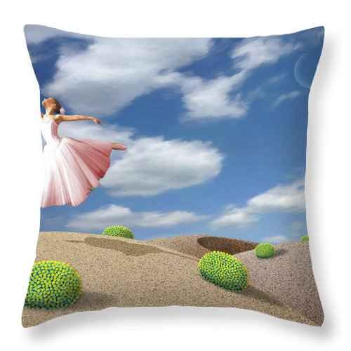 Ballerina Throw Pillow featuring the painting Free Spirit by Snake Jagger