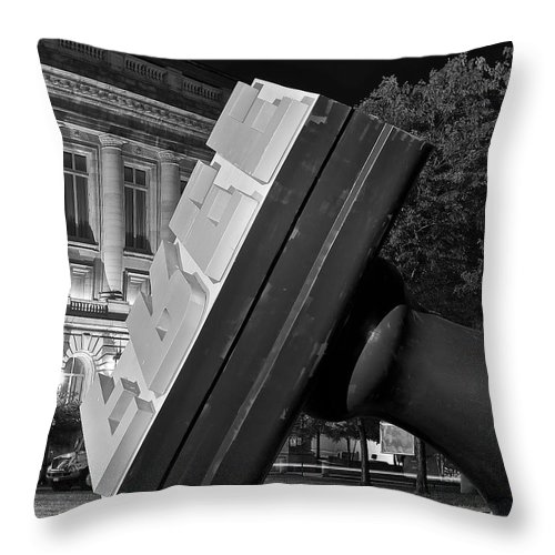 Free Throw Pillow featuring the photograph Free Stamp In Black And White by Frozen in Time Fine Art Photography