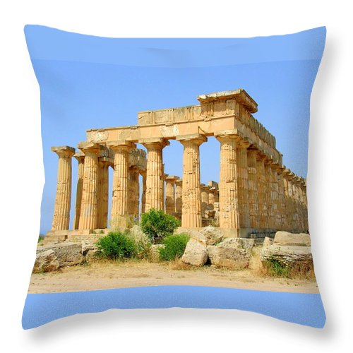 Sicily Throw Pillow featuring the photograph Free Standing Temple by Caroline Stella