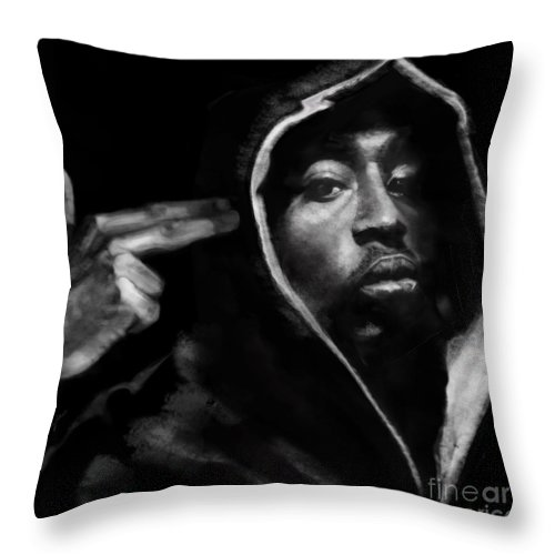 2 Pac Throw Pillow featuring the painting Free Will - 2 Pac by Reggie Duffie