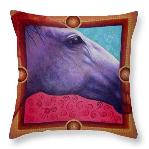 Native American Throw Pillow featuring the painting Freedom by Kevin Chasing Wolf Hutchins