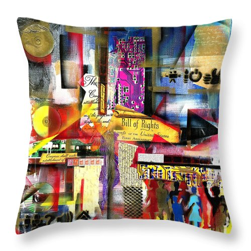 Everett Spruill Throw Pillow featuring the painting Freedom of Speech 3 by Everett Spruill