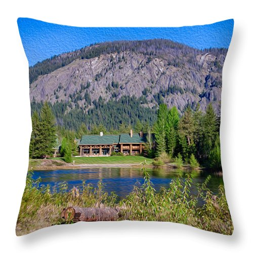 North Cascades Throw Pillow featuring the photograph Freestone Inn Lakeside View by Omaste Witkowski