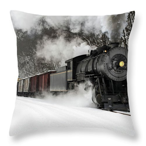 Scenics Throw Pillow featuring the photograph Freight Train With Steam Locomotive by Catnap72